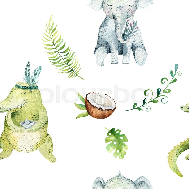 Baby Animals Nursery Isolated Seamless Pattern Watercolor Boho Tropical Drawing Child Cute Crocodile And Elephant Tropic Green