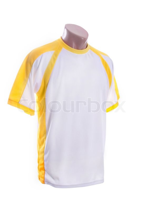 White and yellow T-shirt isolated on white background | Stock ...