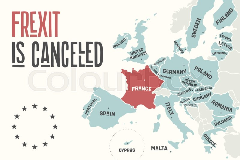 Frexit is cancelled poster map of the european union with country poster map of the european union with country names and france of red color print map of eu for business economic political frexit and geography themes gumiabroncs Gallery
