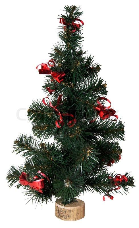 kleine k nstliche gr ne weihnachtsbaum auf wei stockfoto colourbox. Black Bedroom Furniture Sets. Home Design Ideas