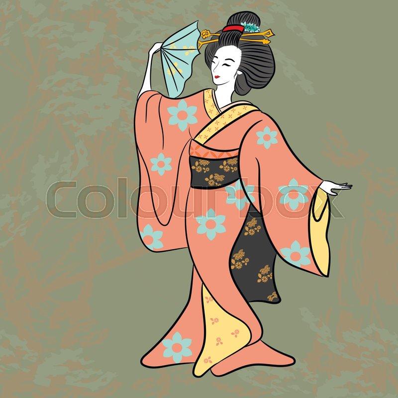 Dancing Geisha Ancient Japan Classical Stock Vector Colourbox