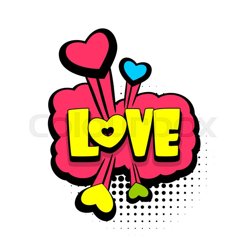 Lettering Love Heart Boom Explosion Comics Book Balloon Bubble Icon Speech Phrase Cartoon Font Label Tag Expression Comic Text Sound Effects