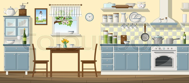 Stock vector of \'kitchen, table, flowers\'