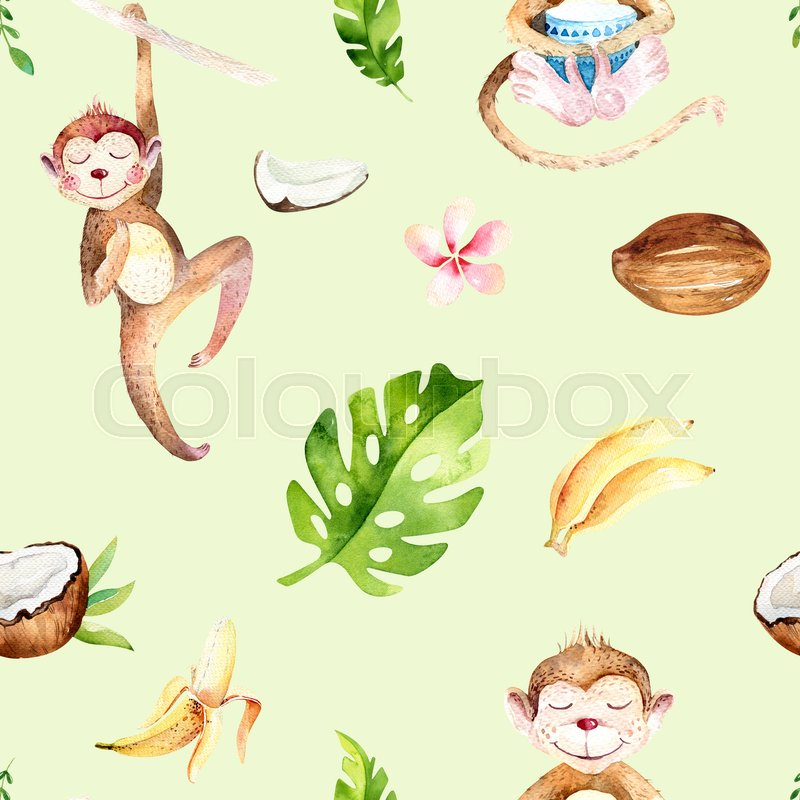 Baby Animals Nursery Isolated Seamless Pattern Watercolor Boho Tropical Drawing Child Cute Monkey And Palm Tree Tropic Green Texture