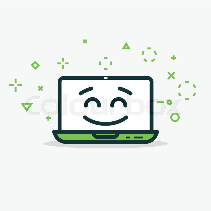 Happy Laptop Computer With Happy Face And Smile Line Style Flat