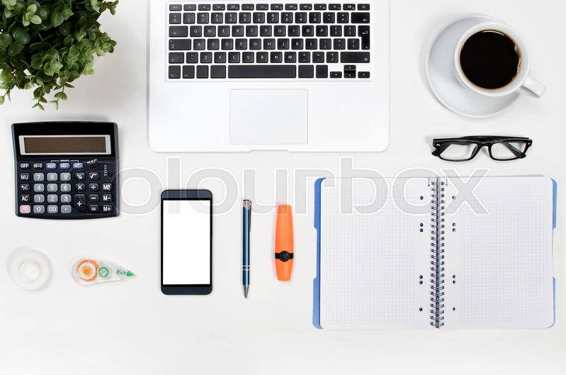 Business white desk in office top view. office supply order arrangement background banner blank business concept, stock photo