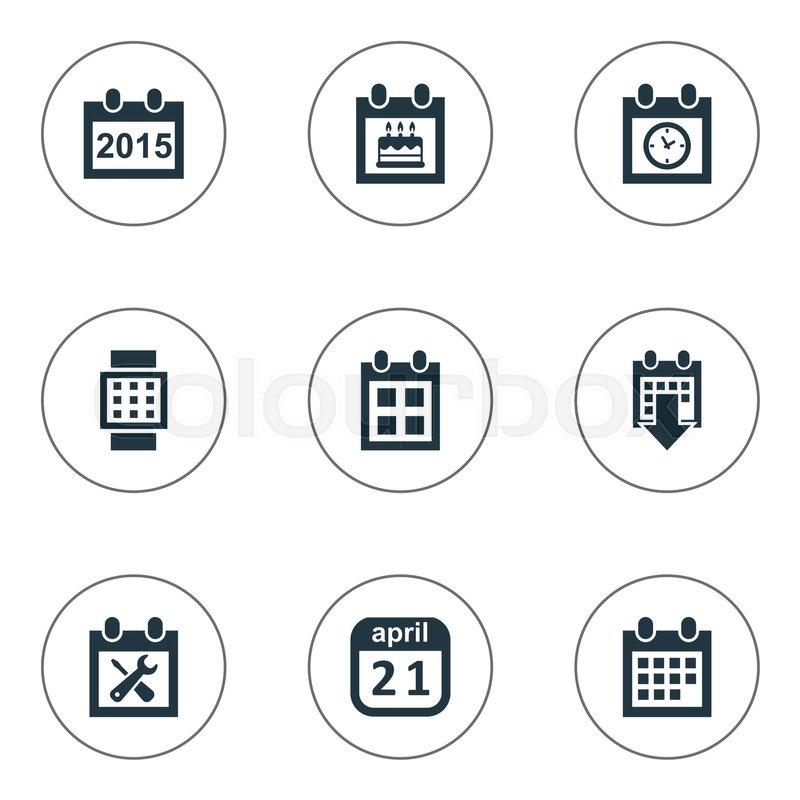 vector illustration set of simple plan icons elements reminder
