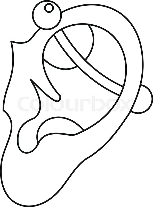human ear with piercing icon in outline style isolated vector