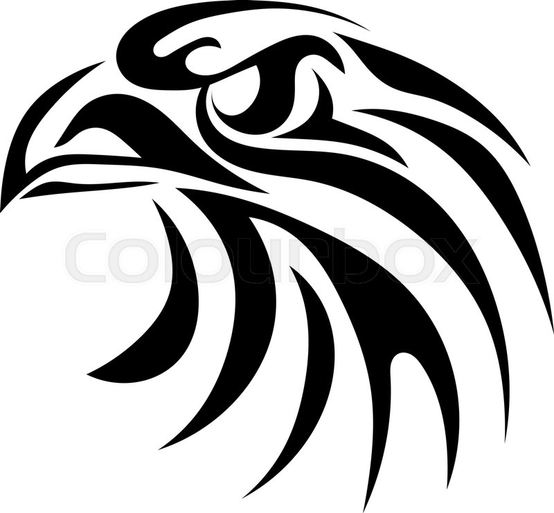 Black graphic image of an eagle head on a white background ...