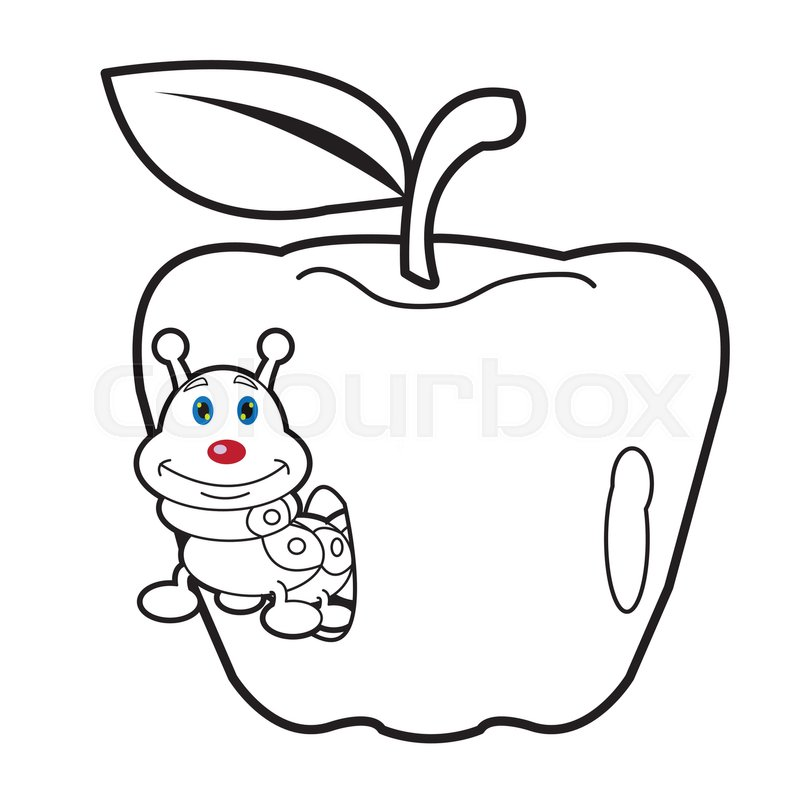 Image Of Larva Worm Cartoon Coloring Page For Toddler Stock Vector