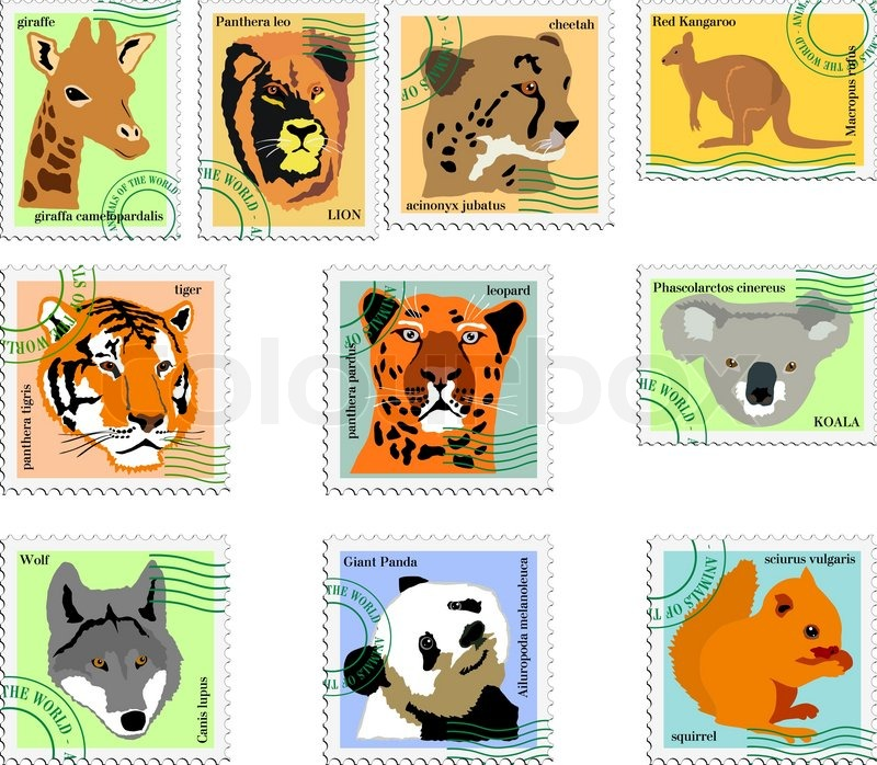 Collection of stamps of animals | Stock Vector | Colourbox