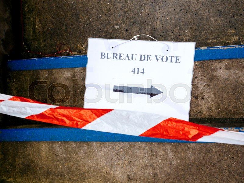 Strasbourg france may 7 2017: bureau de vote sign on floor near