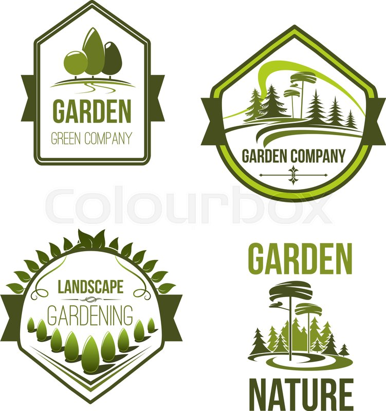 Landscape And Gardening Company Icons Set. Vector Outdoor Nature And  Woodlands Landscape Of Village Or Urban City Park Trees. Garden Landscaping  Design And ...