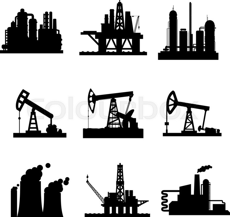 Oil Derricks And Gas Extraction Pump Stock Vector