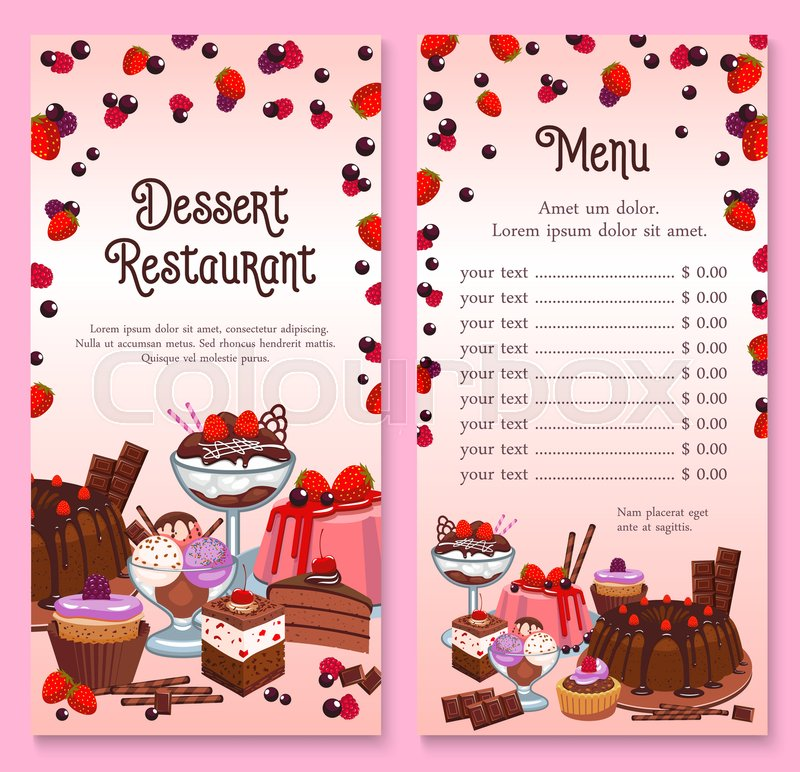 Pastry Menu Design For Cakes And Stock Vector Colourbox