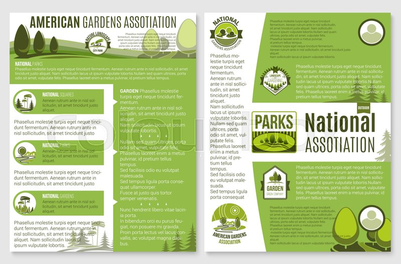 Landscape and gardening company or organization brochure vector ...