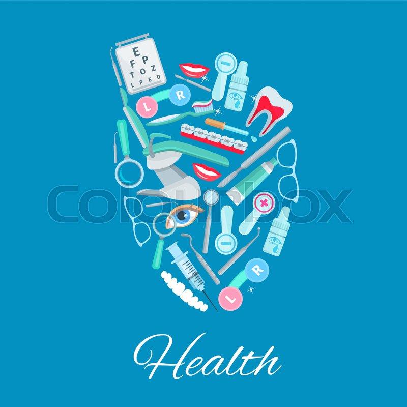 Health Vector Poster Of Heart Organ Symbol With Healthcare Medicines