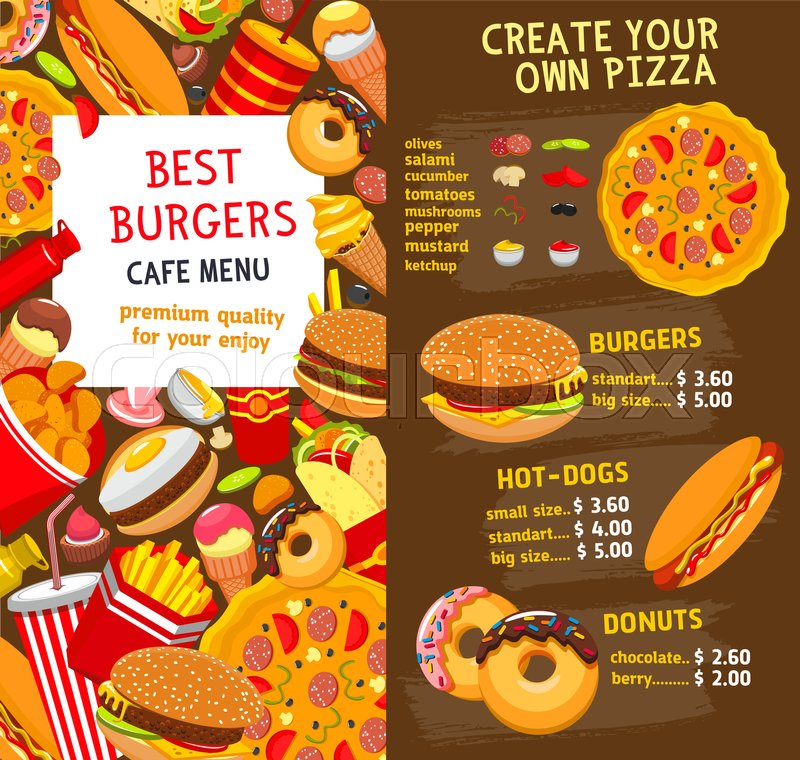 Fast food restaurant burgers and sandwiches menu template vector fast food restaurant burgers and sandwiches menu template vector price card for fastfood menu hamburgers and hot dogs pizza and cheeseburger or soda forumfinder Image collections
