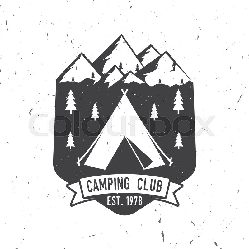 Vector Illustration Concept For Shirt Or Logo Print Stamp Tee Vintage Typography Design With Camper Tent Mountains And Forest Silhouette