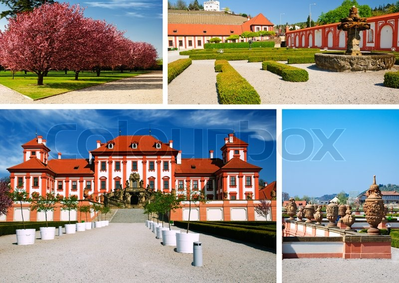 Collage from area medieval castle troja prague stock for Medieval hotel prague