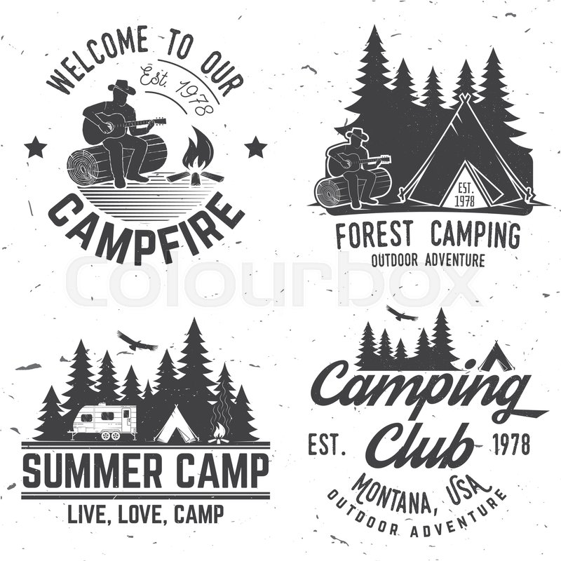 Vector Illustration Concept For Shirt Or Logo Print Stamp Tee Vintage Typography Design With Camper Tent And Forest Silhouette