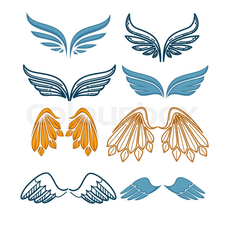 Set Of Company Name Logo Emblems With Angel Wing On White Background