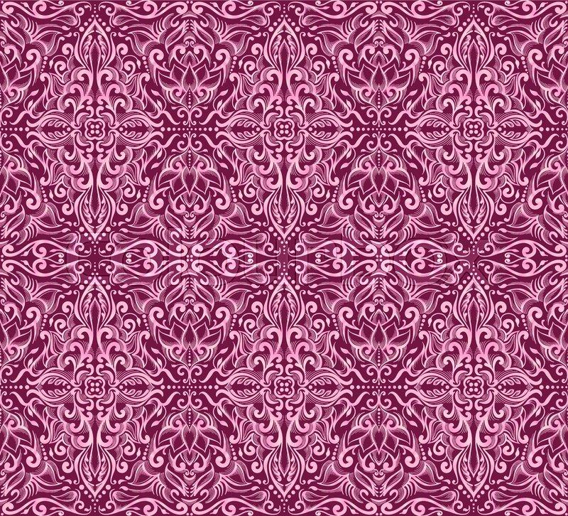 Seamless Pink Damask Pattern On A Dark Background Vector