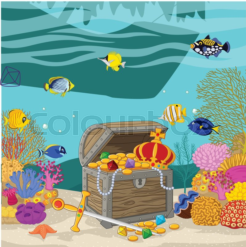 vector illustration of treasure chest in underwater background