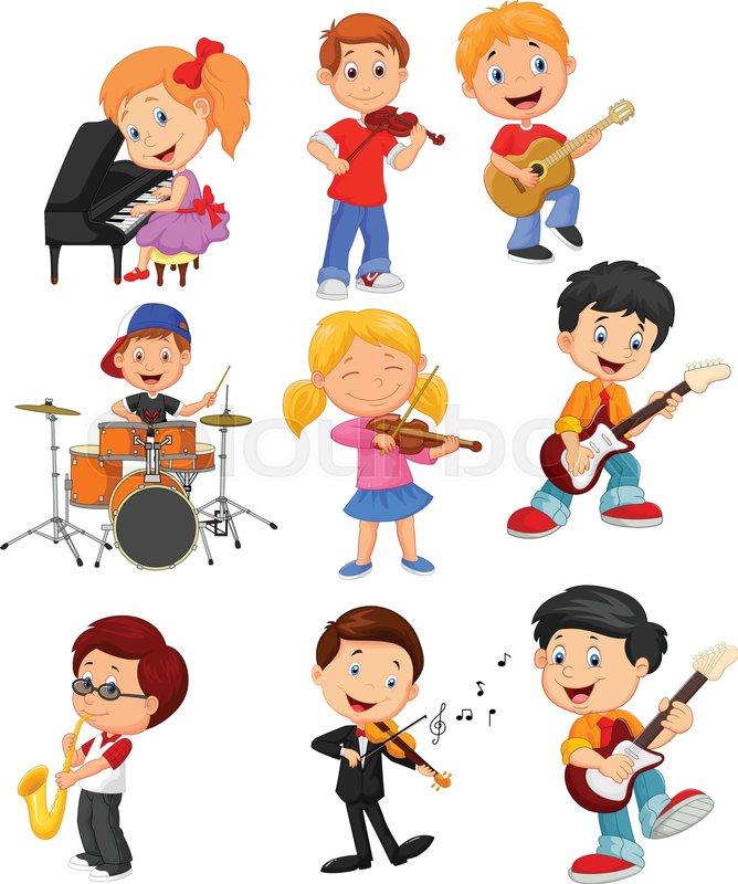 Vector illustration of Cartoon little kids playing music | Stock ...