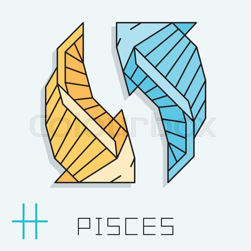 Pisces Zodiac Sign Horoscope Symbol Vector Illustration Stock