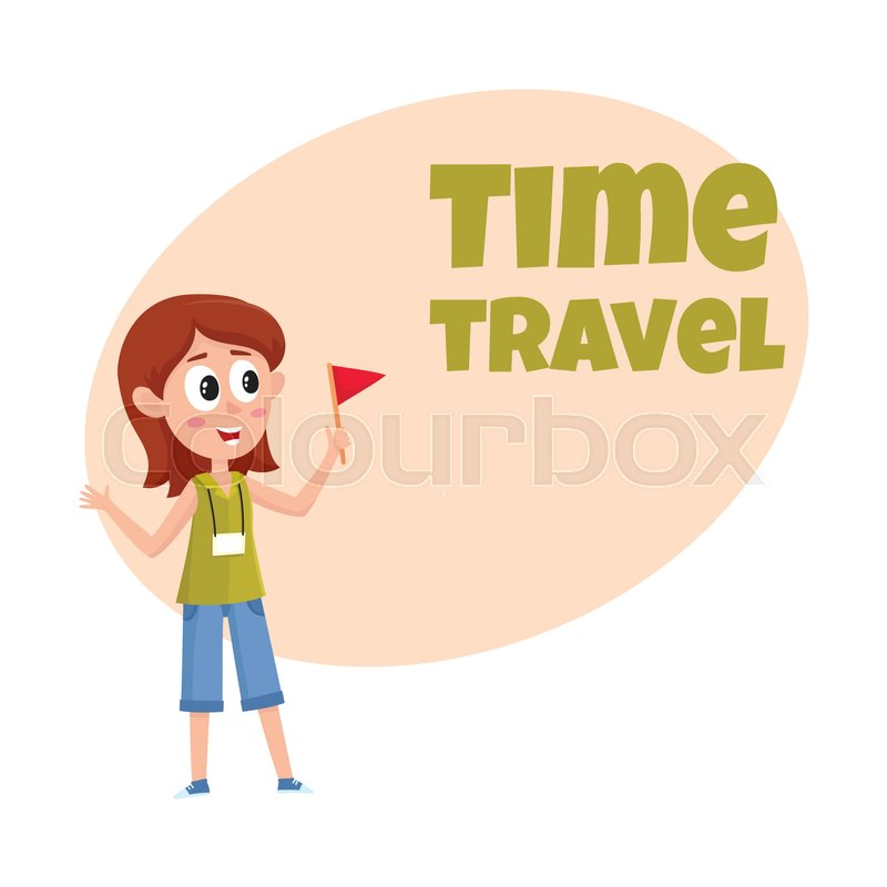 Travel time poster banner postcard design with pretty girl tour travel agency tour ad design template with cartoon comic female guide stock vector colourbox pronofoot35fo Image collections
