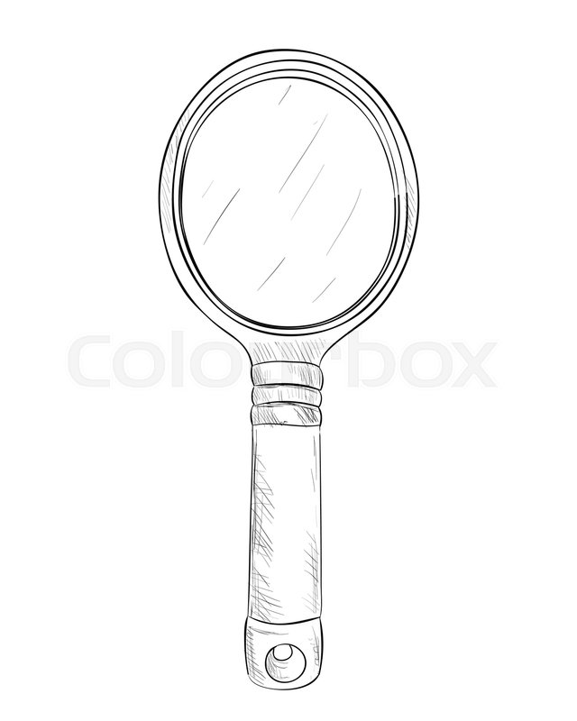 hand mirror drawing. Vector Sketch Of Hand Mirror. Draw Illustration. | Stock Colourbox Mirror Drawing A