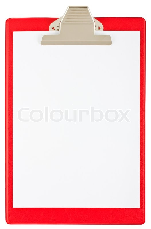 Blank Red Clipboard Isolated On White Background Stock