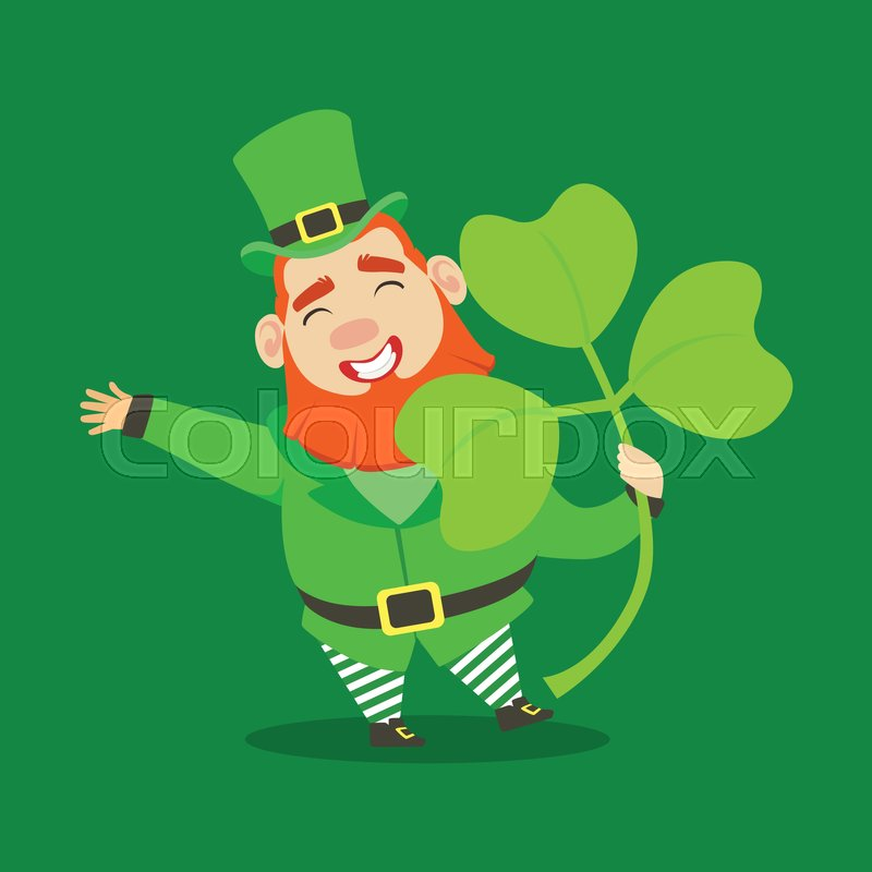 Cute Cartoon Dwarf Leprechaun With Shamrock Symbol Of Success And
