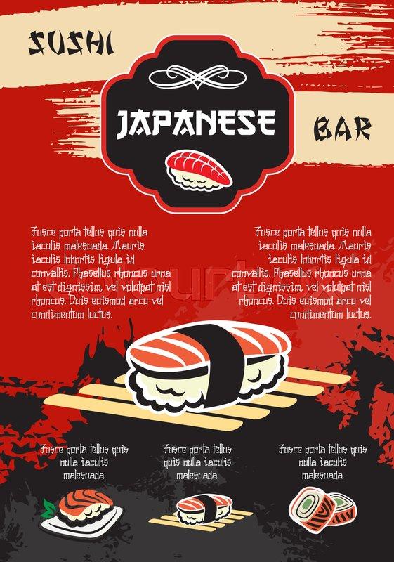 Sushi bar vector poster for japanese seafood restaurant for Bar 88 food menu
