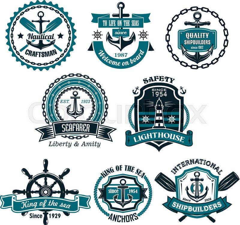 Nautical Icons And Symbols Set Vector Isolated Heraldic Seafarer