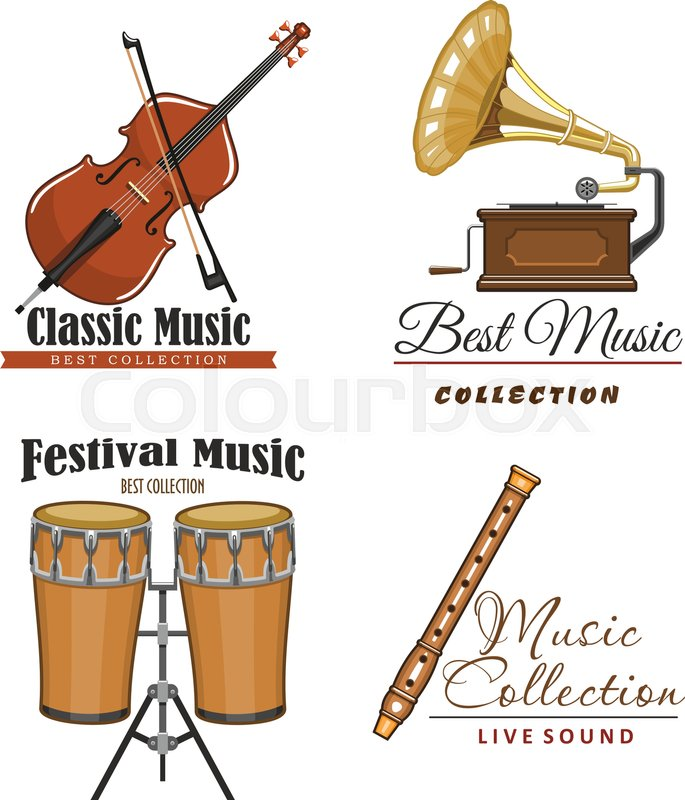 Live Music Festival Vector Icons Set For Musical Sound Fest Or