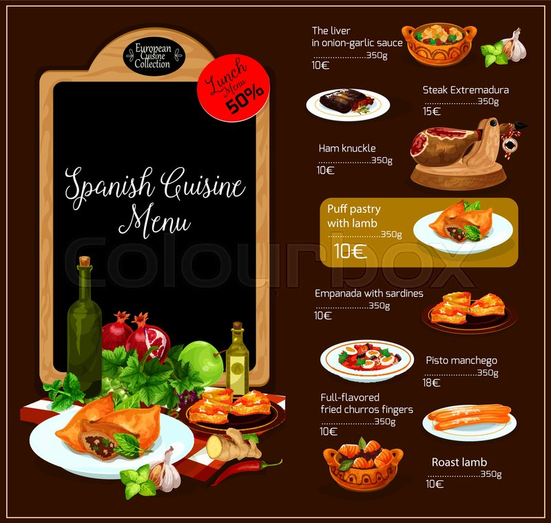 Spanish restaurant vector menu spain traditional cuisine for Conception cuisine snack