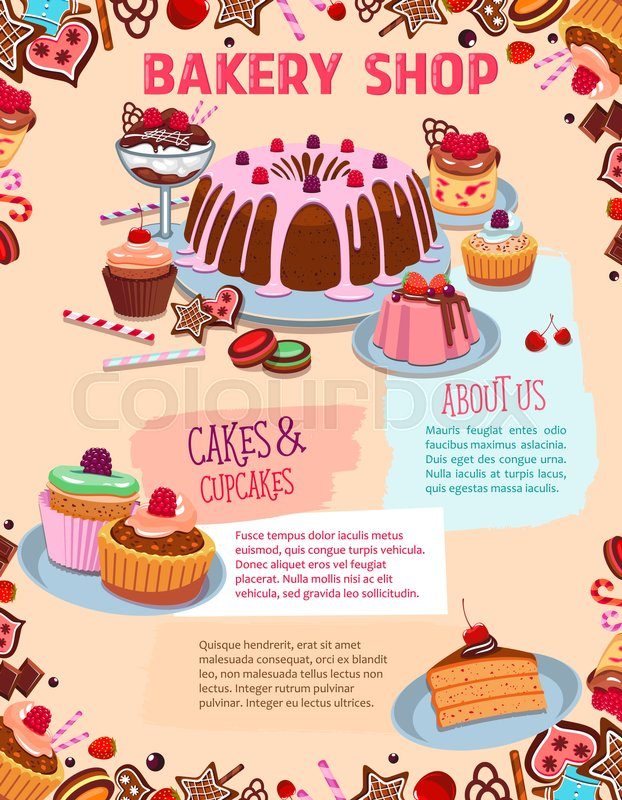 Lemonade Stand Poster Designs : Bakery shop desserts and pastry cakes vector poster