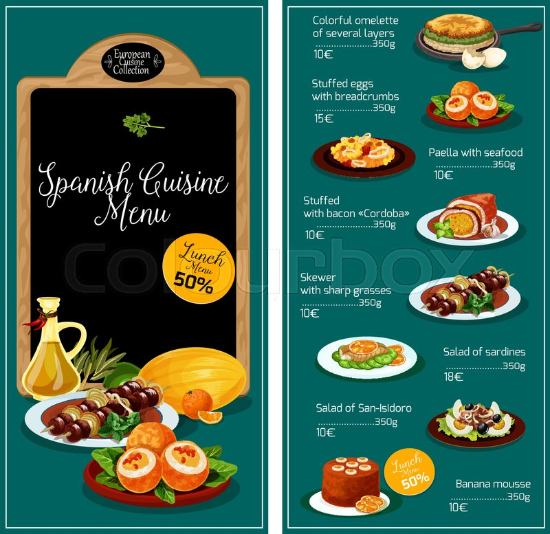 Spanish Cuisine Restaurant Menu Vector Template Spain