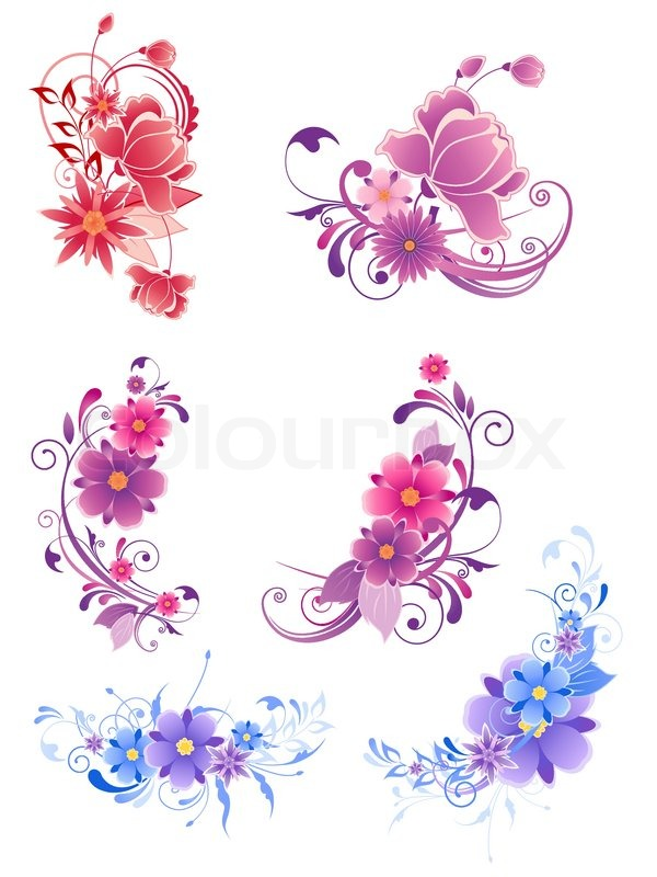 floral decorative elements with flowers and ornament stock vector colourbox. Black Bedroom Furniture Sets. Home Design Ideas