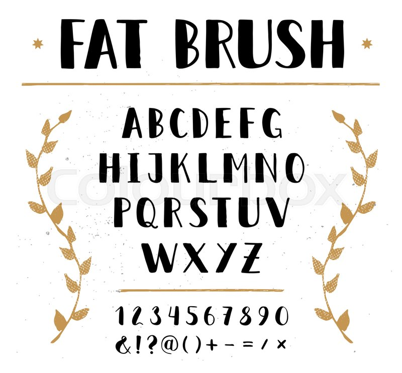 Vector Hand Drawn Sans Alphabet Letters And Numbers Written With A Brush Pen Ink