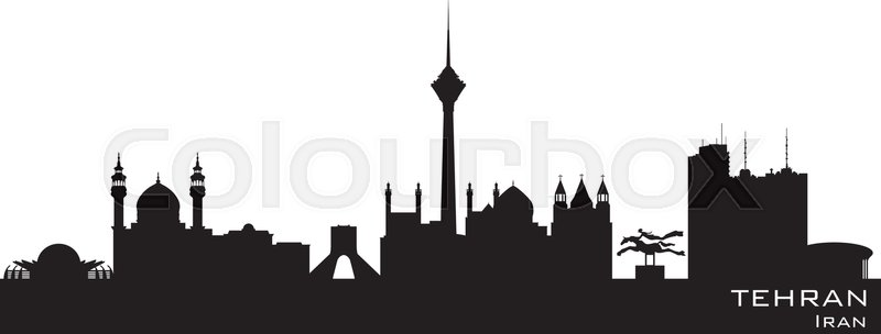 tehran iran skyline detailed vector silhouette stock
