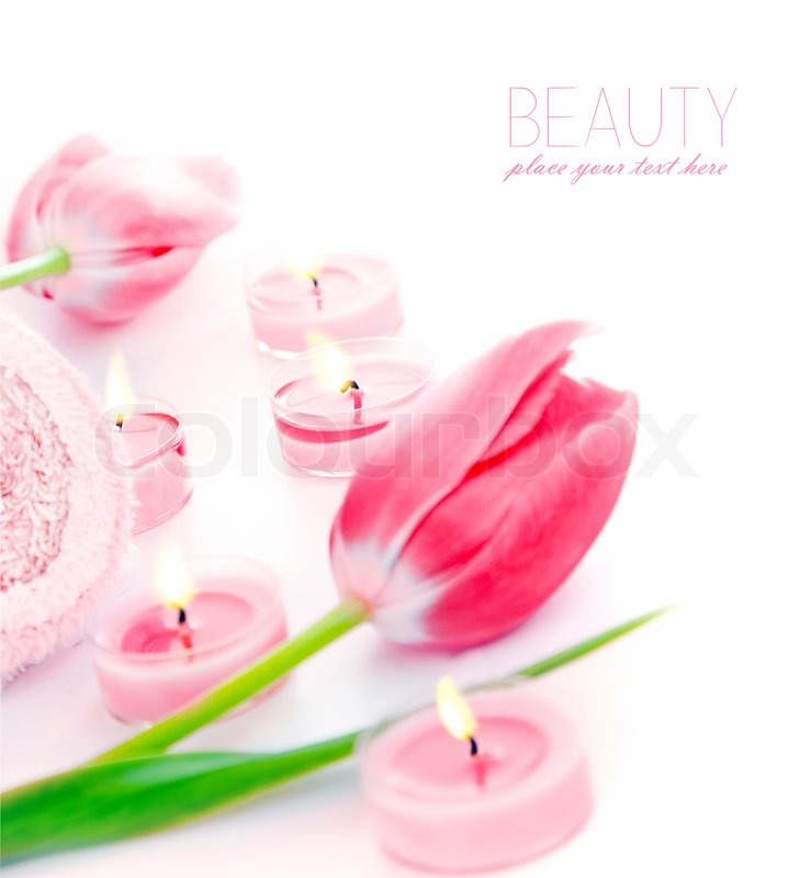 spa candle with pink tulip flowers aromatherapy day spa