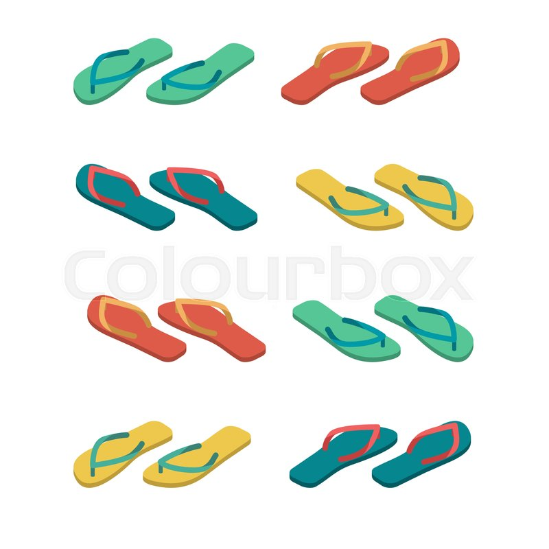 f29bf865415ad Slippers isolated. Summer shoes. Beach Boots sign