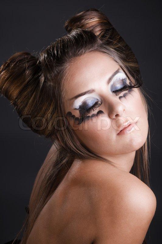 fashion model with halloween make