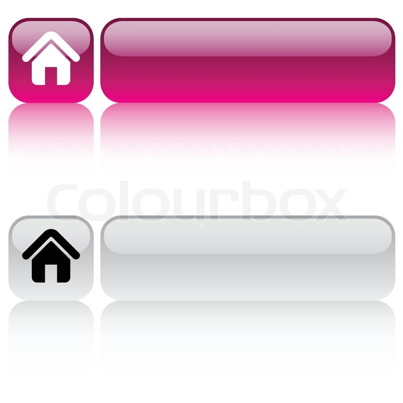 Home glossy square web buttons | Stock vector | Colourbox