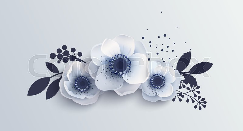 Bouquet anemones flowers vector illustration of delicate white bouquet anemones flowers vector illustration of delicate white flower isolated realistic style with shadow anemones berries and leaves bouquet mightylinksfo