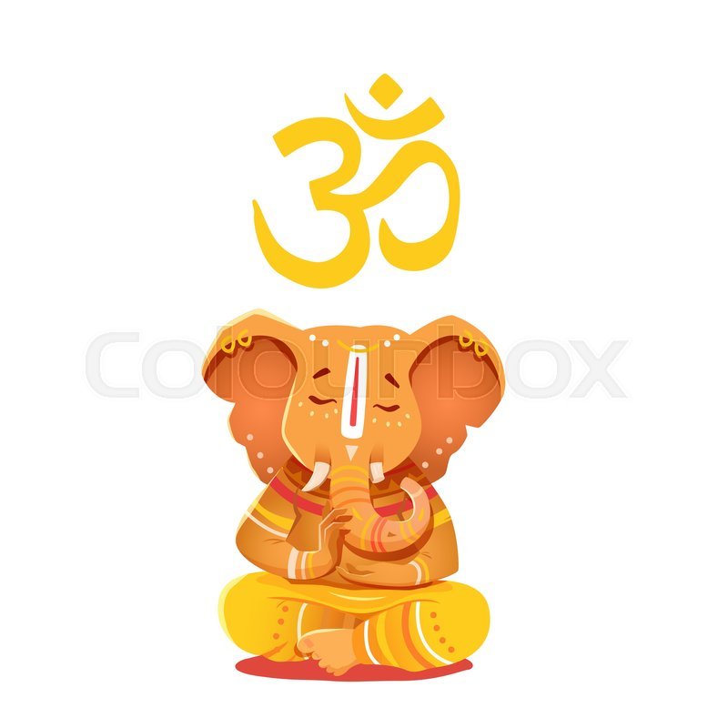 Illustration Yellow Ganesh With Om Symbol Deity Of The Elephant