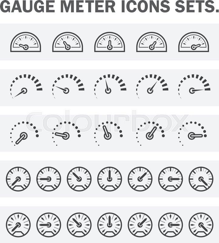 gauge meter vector icon set design on white